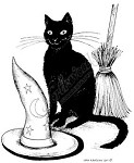 Northwoods Rubber Stamp -Hat Cat and Broom