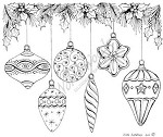 Northwoods Rubber Stamp -Six Hanging Ornaments with Holly and Pine
