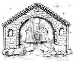 Northwoods Rubber Stamp -Starry Holy Night Stable