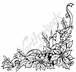 Northwoods Rubber Stamp - Candle & Poinsettia Corner