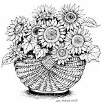 Northwoods Rubber Stamp -Sunflowers in Basket