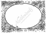 Northwoods Rubber Stamp - Pine, Holly & Cardinal Oval Frame