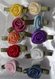 Offray Ribbon Embellishments - Sm Ribbon Rose - Multi