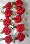 Offray Ribbon Embellishments - Sm Ribbon Rose - Red