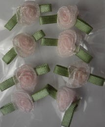 Offray Ribbon Embellishments - Small Sheer Rose - Pink