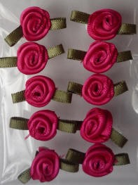 Offray Ribbon Embellishments - Sm Ribbon Rose - Hot Pink