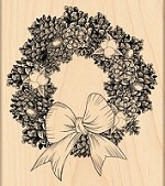 Penny Black - Wood Mounted Stamp - Pine Wreath