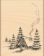 Penny Black - Wood Mounted Stamp - Christmas Cottage