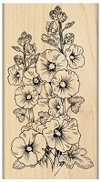 Penn Black - Wood Mounted Stamp - Hollyhocks