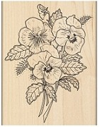 Penny Black - Wood Mounted Stamp - Pansy Bouquet