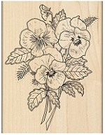 Penn Black - Wood Mounted Stamp - Pansy Bouquet