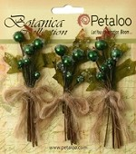 Petaloo - Botanica Collection - Sugared Berry Clusters - Green