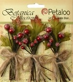 Petaloo - Botanica Collection - Sugared Berry Clusters - Red