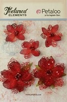 Petaloo - Textured Elements - Jeweled Flowers - Red