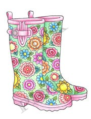 Pink Ink - Wood Mounted Rubber Stamp - Floral Wellies