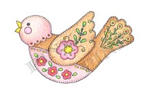 Pink Ink - Wood Mounted Rubber Stamp - Stitched Bird