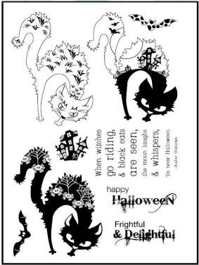 Prickley Pear Clear Stamp -Scary Cat & Bat