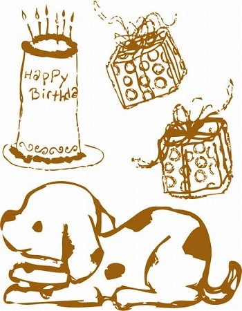 Prima Clear Stamp - J&J Dog/Bday