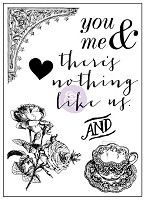 Prima - Tales of You & Me Collection - 3x4 Clear Stamp - rose and teacup
