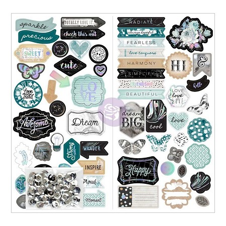 Prima - Zella Teal Collection - Chipboard Stickers (w/ Sequins)