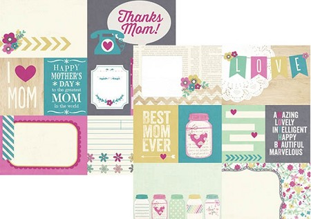 "Simple Stories - Hey Mom! Collection - 12""x12"" Double Sided Cardstock - Elements # 1"