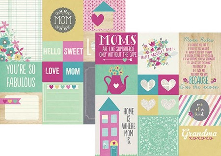 "Simple Stories - Hey Mom! Collection - 12""x12"" Double Sided Cardstock - Elements # 2"