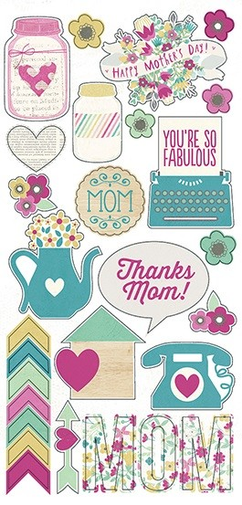 "Simple Stories - Hey Mom! Collection - 6""x12"" Sticker Sheet - Fundamentals"