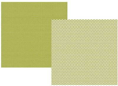 Simple Stories - Sn@p! Color Vibe Collection - 12x12 Double Sided Cardstock - Green Chevron/Mini Dot