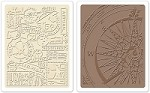 Sizzix - Texture Fades Embossing Folders by Tim Holtz - 2 Pack - Airmail & Compass Set