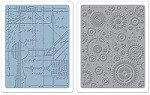 Sizzix - Texture Fades Embossing Folders by Tim Holtz - 2 Pack - Blueprint & Gears Set