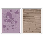 Sizzix - Texture Fades by Tim Holtz - 2 Pack - Ink Splats & Wood Planks