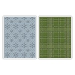 Sizzix - Texture Fades by Tim Holtz - 2 Pack - Snowflake Pattern & Plaid Set