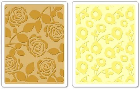 Sizzix - Textured Impressions Embossing Folder by Scrappy Cat - 2 Pack - Pom-Poms & Roses Set