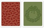 Sizzix Texture Fades Embossing Folders 2PK - Holly Pattern & Wreath Set by Tim Holtz