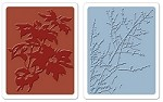 Sizzix Texture Fades Embossing Folders 2PK - Brush Poinsettias & Winter Berries Set by Tim Holtz