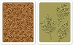 Sizzix Texture Fades Embossing Folders 2PK - Textured Leaves Set by Tim Holtz