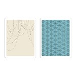 Sizzix - Texture Fades Embossing Folder (2pk) by Tim Holtz - Beaded Garland & Snowflakes set