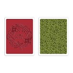 Sizzix - Texture Fades Embossing Folder (2pk) by Tim Holtz - Greetings & Greens set