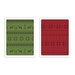 Sizzix - Texture Fades Embossing Folder (2pk) by Tim Holtz - Holiday Knit set
