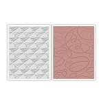 Sizzix - Texture Fades Embossing Folders 2PK by Tim Holtz - Paper Airplane & Dotted Lines Set