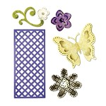 Sizzix Thinlits - Dies - by Rachael Bright - Butterfly, Flowers & Lattice