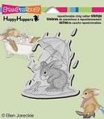 Stampendous Cling Mounted Rubber Stamp - House Mouse Happy Hopper Puddle Fun