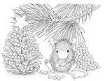 Stampendous - Cling Mounted Rubber Stamp - House Mouse Pinecone Tree