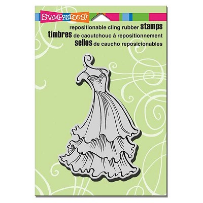 Stampendous cling mounted rubber stamp tiered dress for Wedding dress rubber stamp