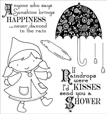 Darcie's Cling Mounted Rubber Stamp-Dancing In the Rain