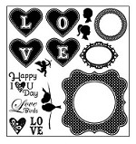 Darcie's Cling Mounted Rubber Stamp Set - I Heart You
