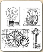 Tim Holtz - Cling Rubber Stamp Set - Industrial Blueprint