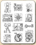 Tim Holtz - Cling Rubber Stamp Set - Mini Blueprints 3