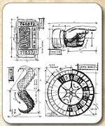 Tim Holtz - Cling Rubber Stamp Set - Ringmaster Blueprint