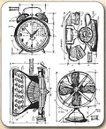 Tim Holtz - Cling Rubber Stamp Set - Vintage Things Blueprint